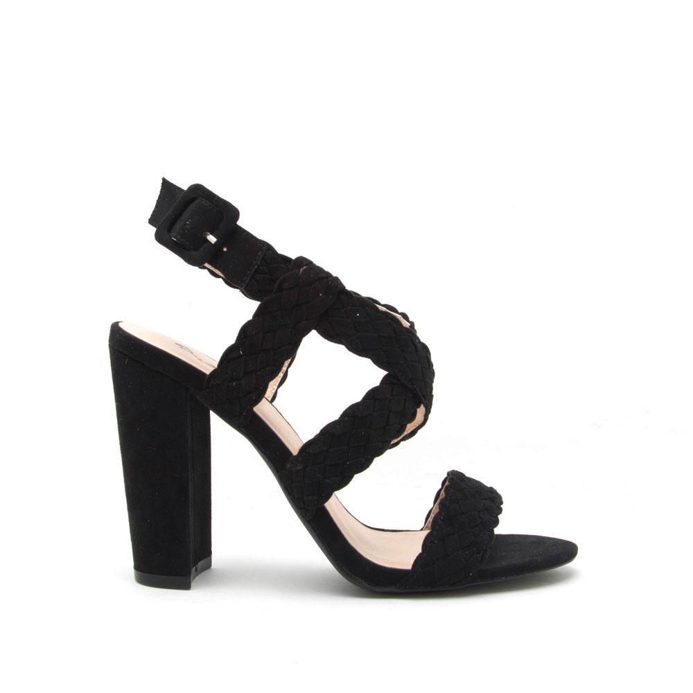 Justine - Black Braided Strappy Heel
