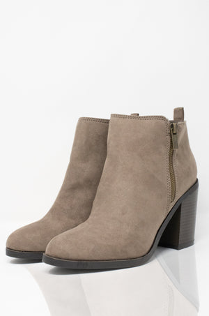 Call On Me - Taupe Almond Toe Booties