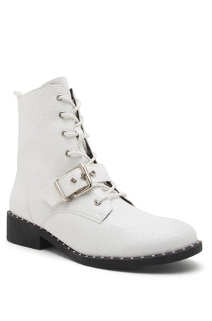 Can't Be Tamed - White Studded Combat Boots