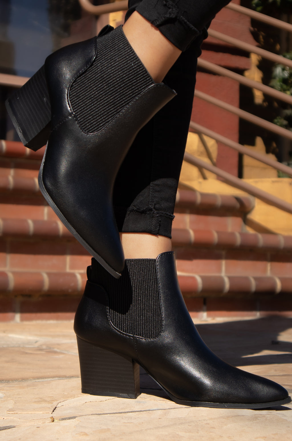 Clean Slate - Black Pointed Toe Chelsea Booties