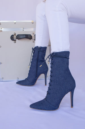 Double Up - Denim Lace Up Pointed Toe Booties