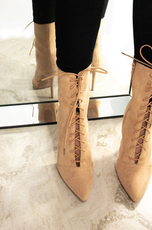 Double Up - Toffee Lace Up Pointed Toe Booties