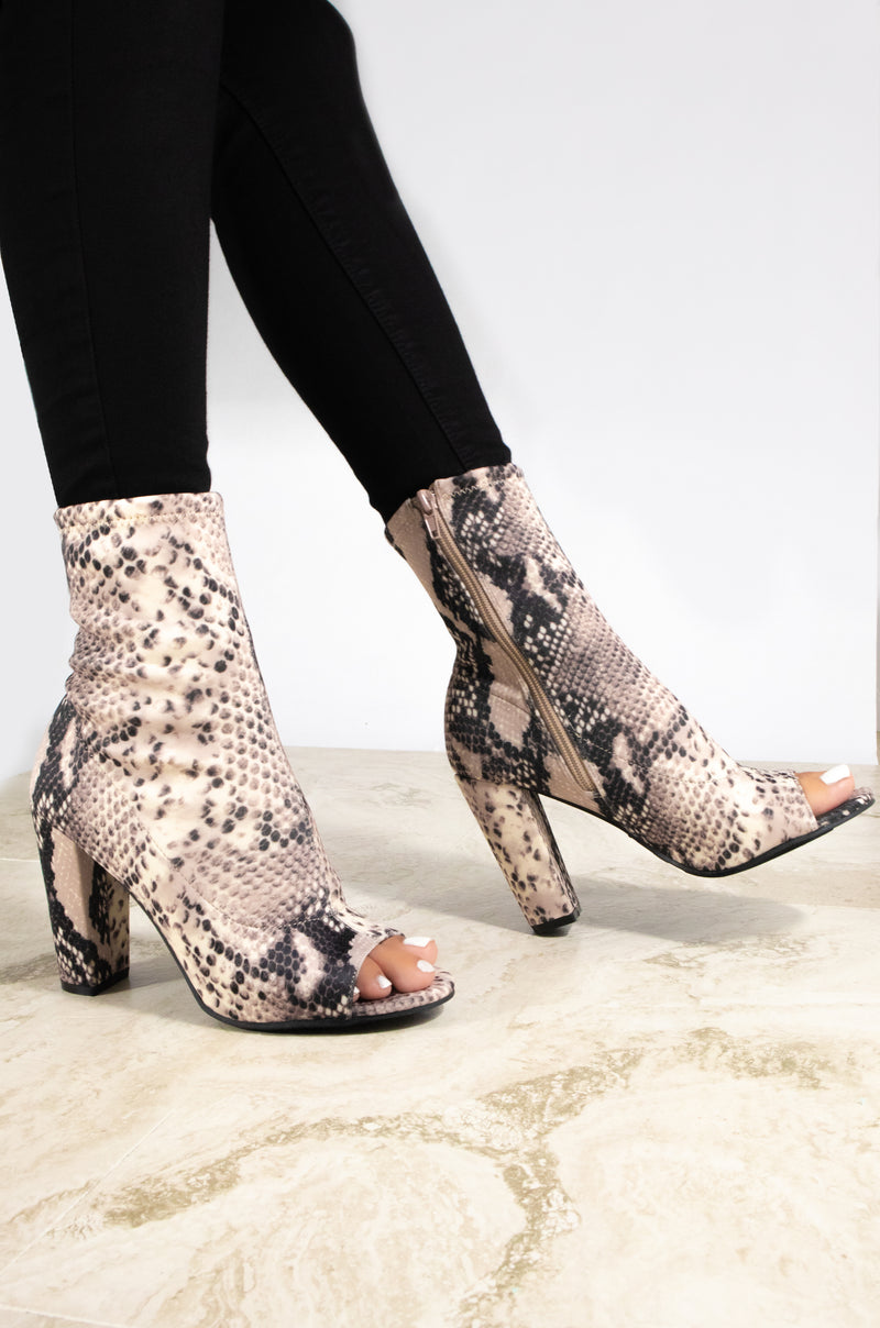 Down To Ride - Snake Lycra Peep Toe Booties