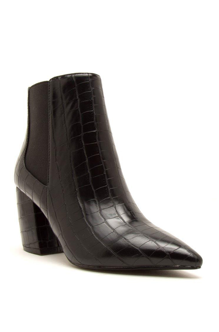 End Game - Black Crocodile Pointed Toe Bootie