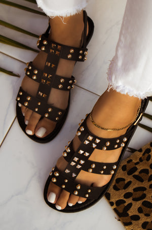 Eternal Love - Black Studded Sandals
