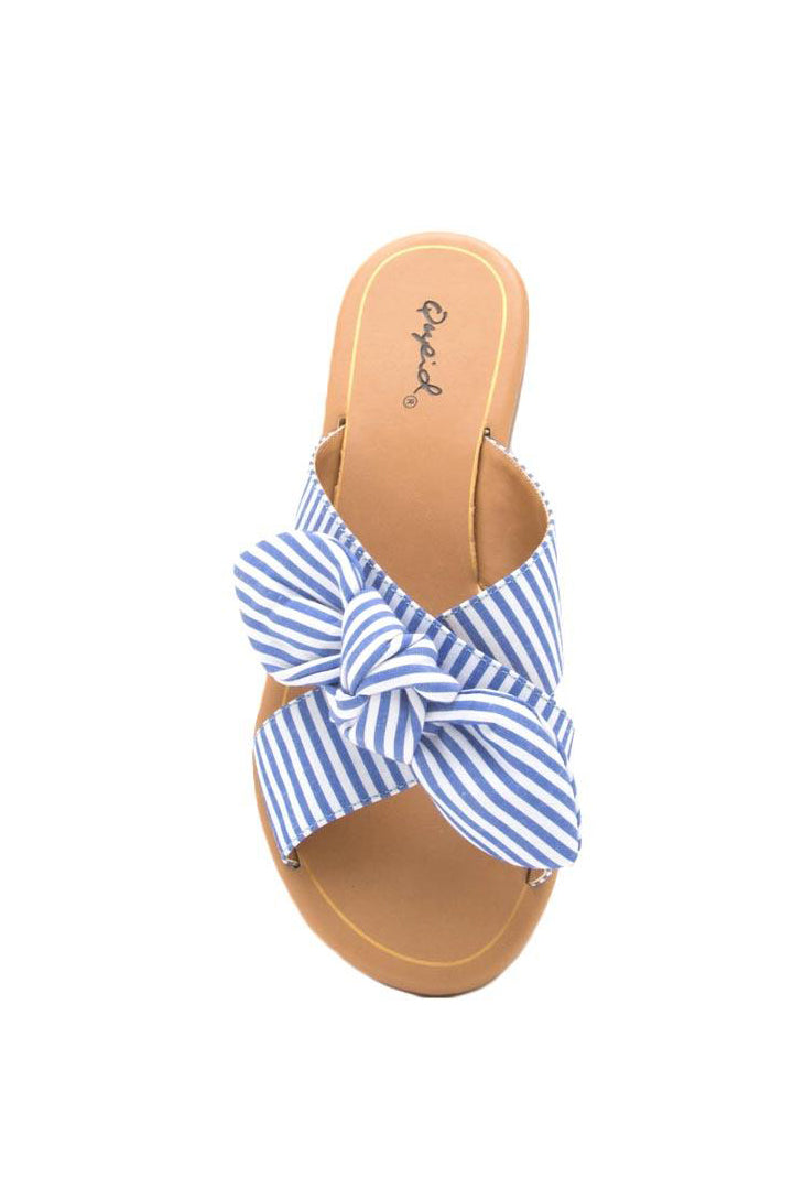 Exotic Paradise - Blue Striped Bow Slide Sandals