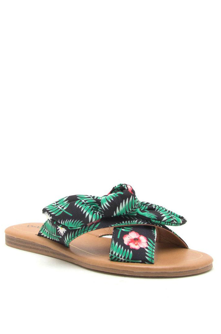 Exotic Paradise - Floral Print Bow Slide Sandals