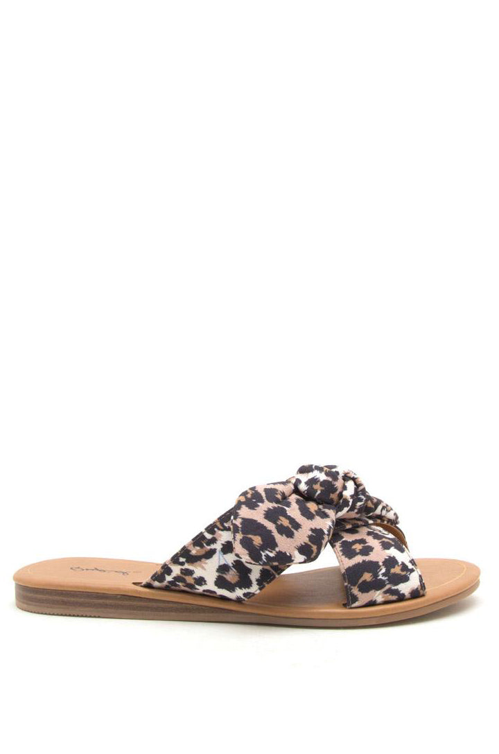 Exotic Paradise - Leopard Bow Slide Sandals
