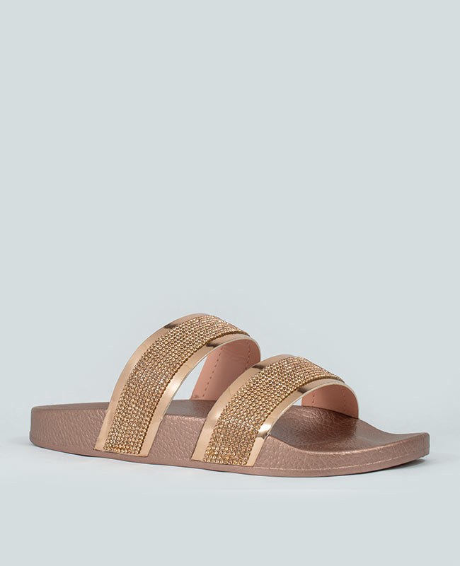 Expensive Taste - Rose Gold Rhinestone Slides