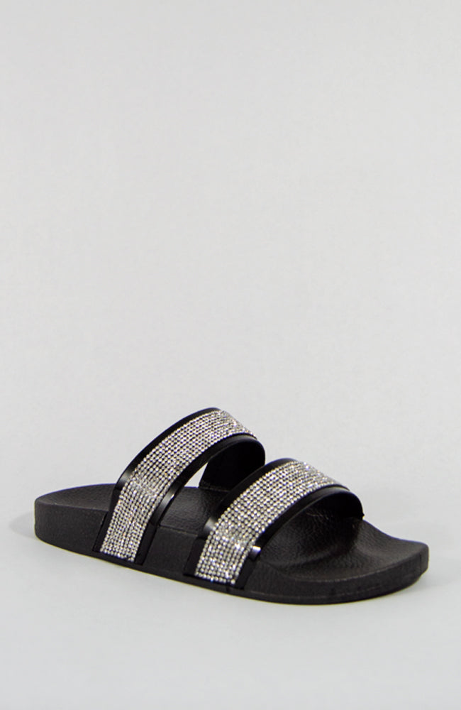 Expensive Taste - Black Rhinestone Slides