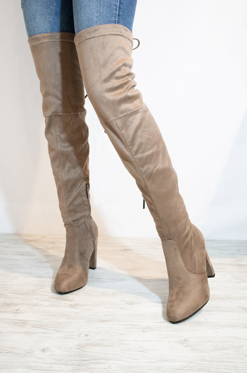 Fashion Desire - Taupe Over The Knee High Heel Boots