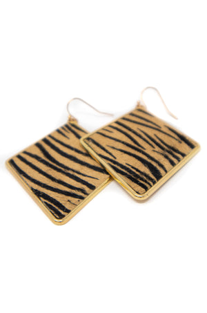 Feeling You - Tan Zebra Earrings