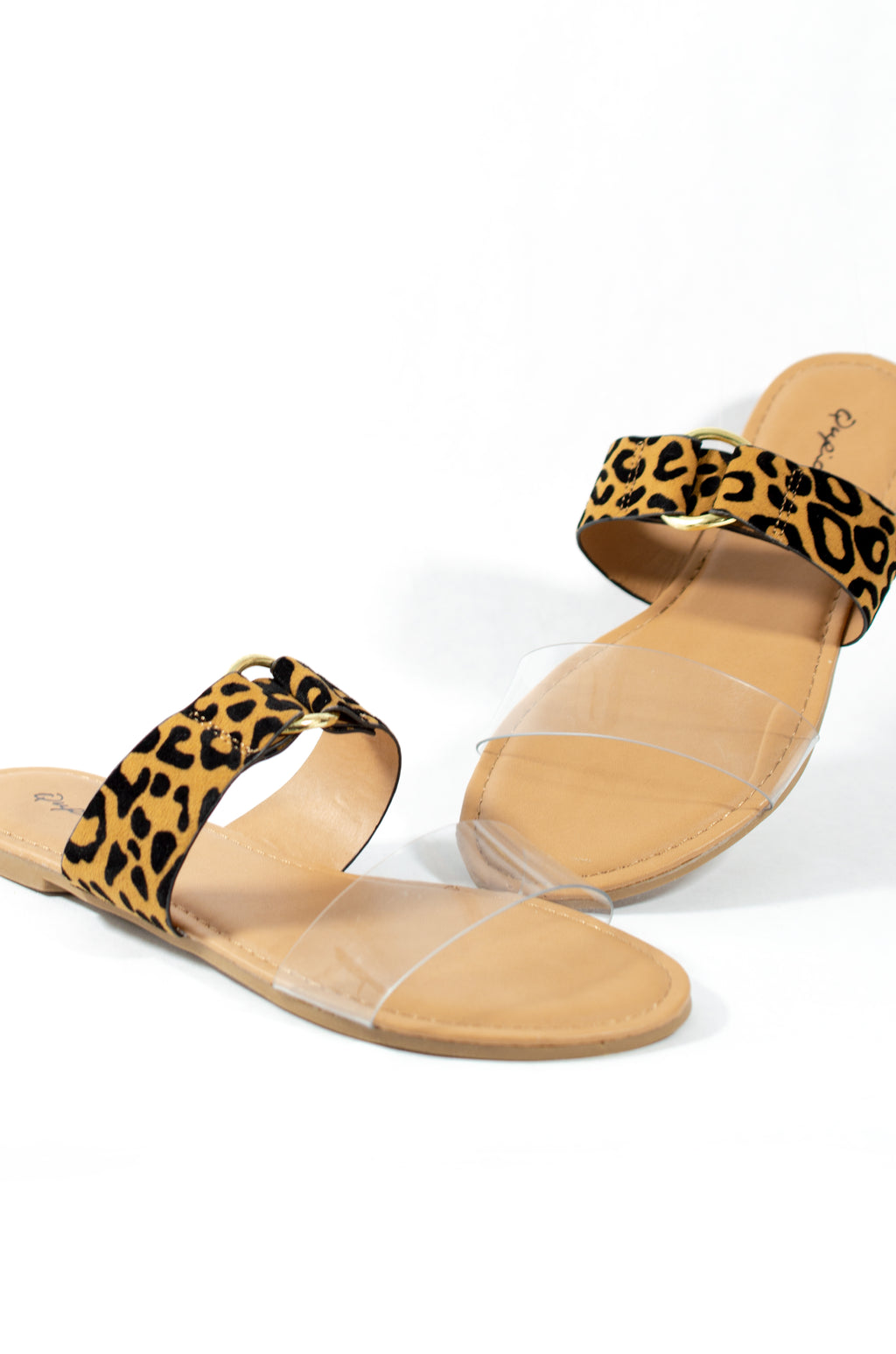 Feeling Frisky - Leopard Double Band Slides