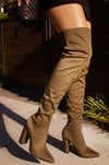 Feeling Myself - Khaki Stretch Thigh High Boots
