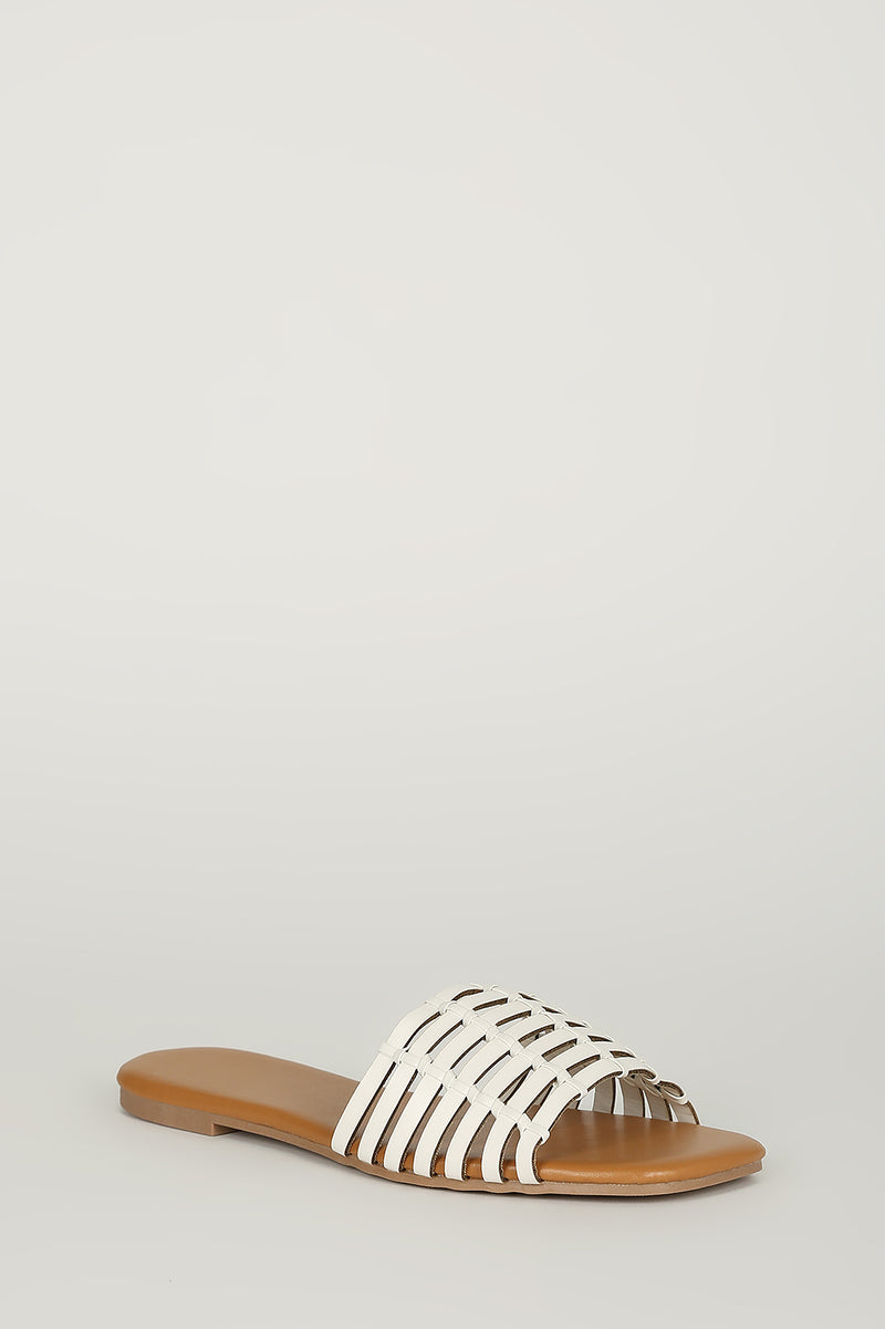 Fiercely Chic - White Snake Weaved Sandals
