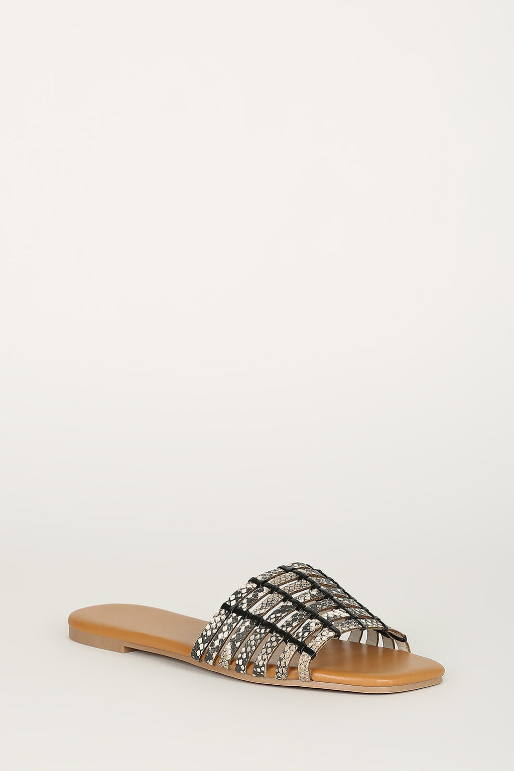 Fiercely Chic - Beige Snake Weaved Sandals