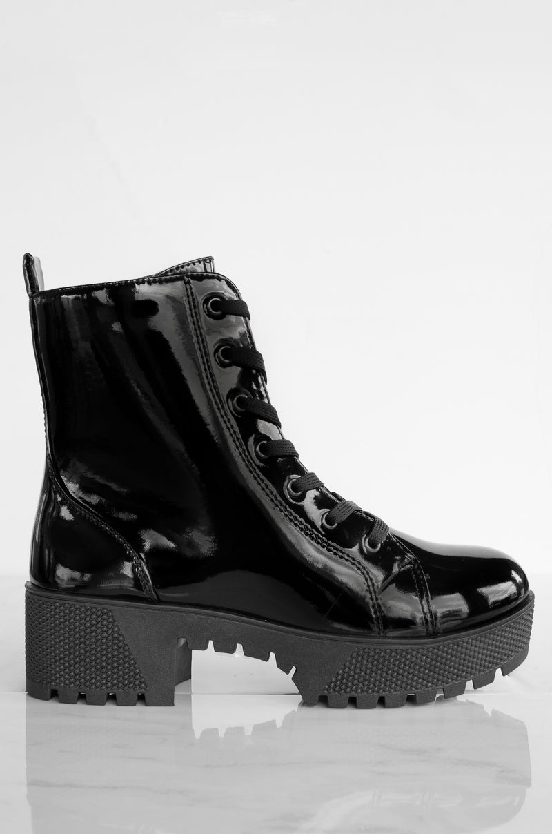 Flawless - Black Lace Up Combat Boots