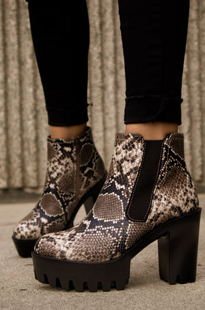 Formation - Beige Snake Lug Sole Booties