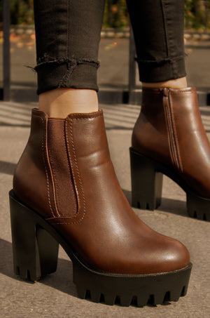 Formation - Brown Lug Sole Booties