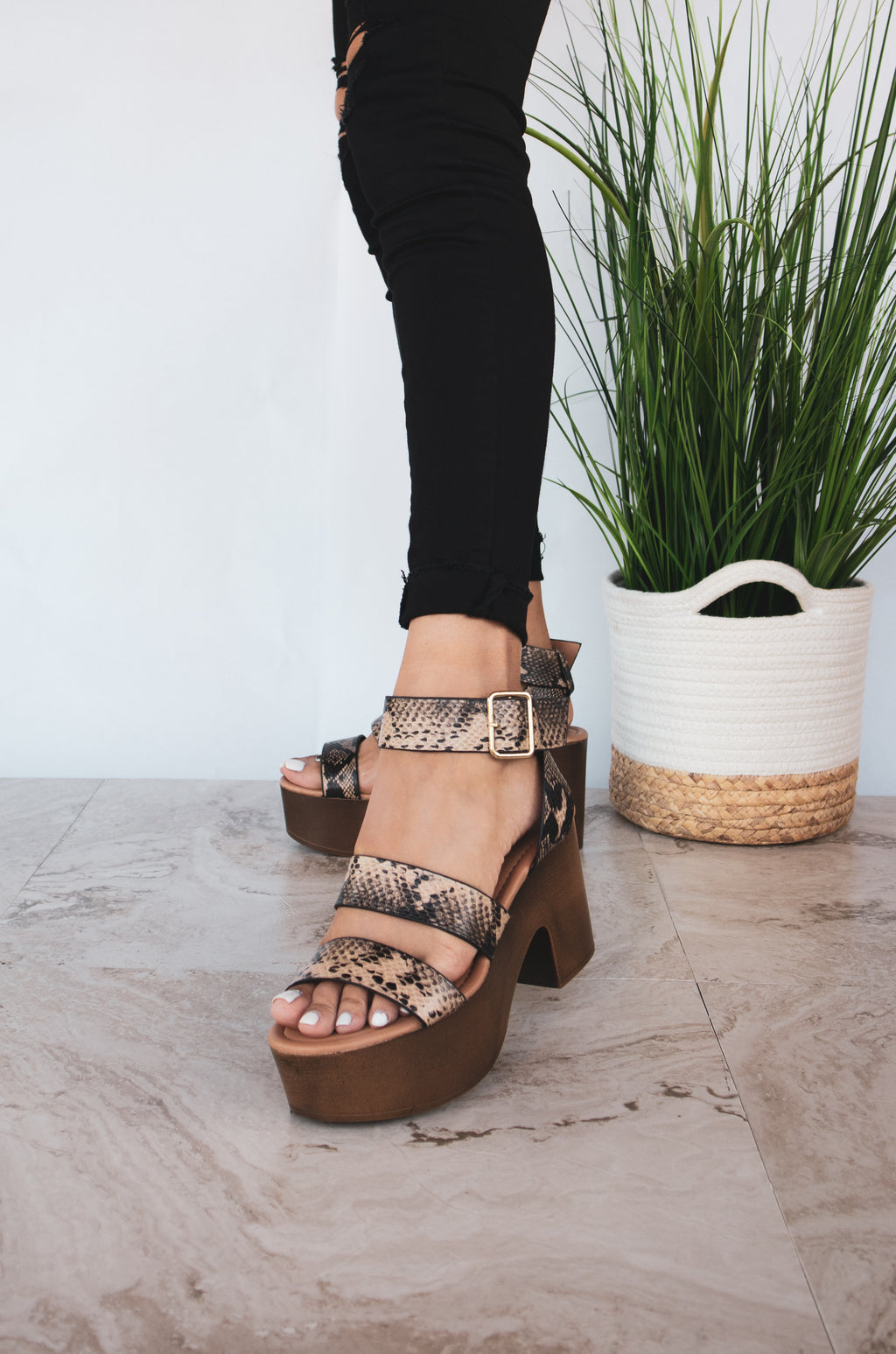 Funk You Up - Taupe Snake Triple Band Sandals
