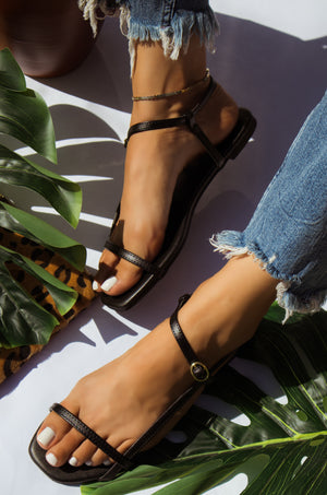 Going Places - Black Strappy Sandals