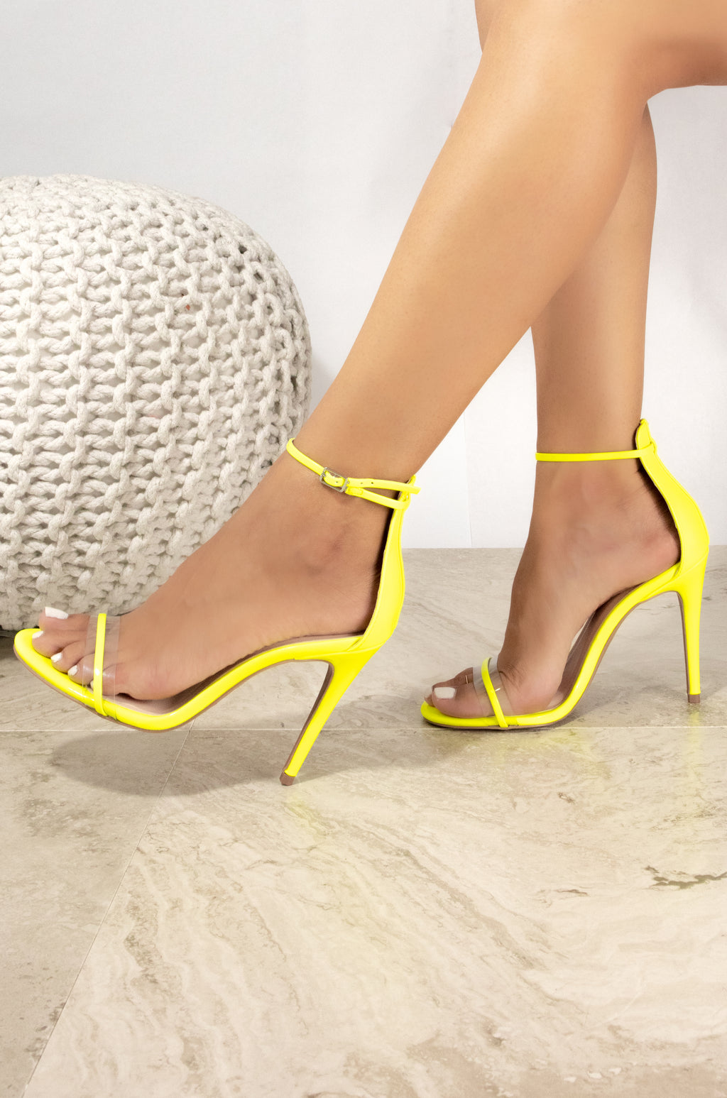 Game On - Neon Yellow Clear Band Heeled Sandals