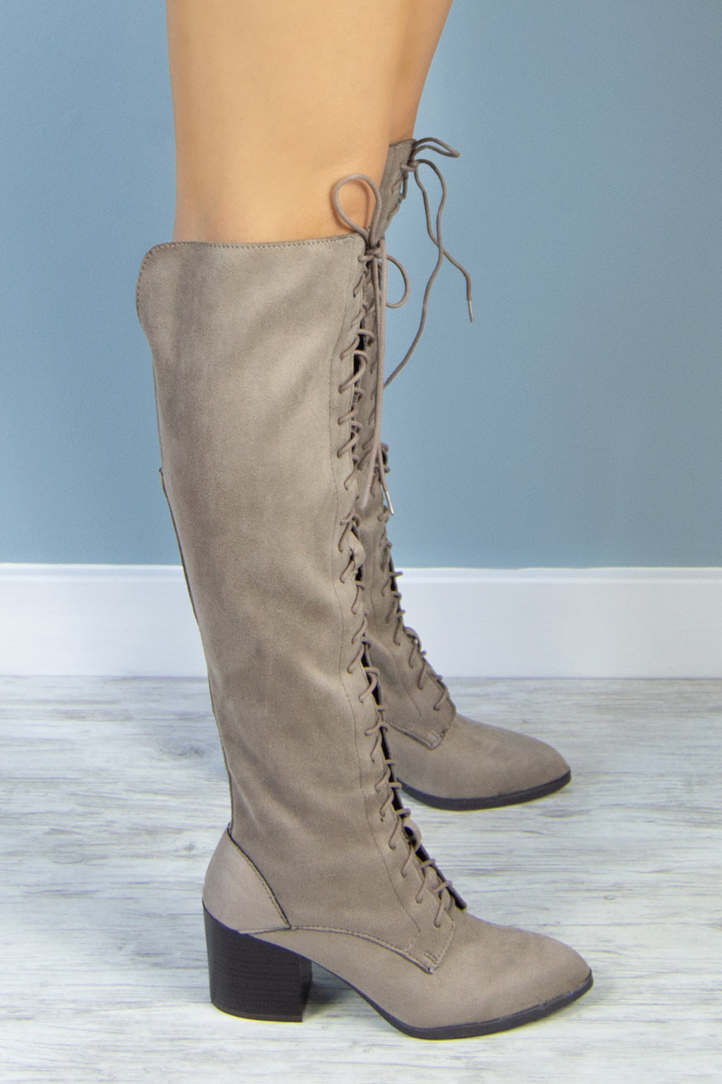 Game Over - Taupe Lace Up Combat Boot