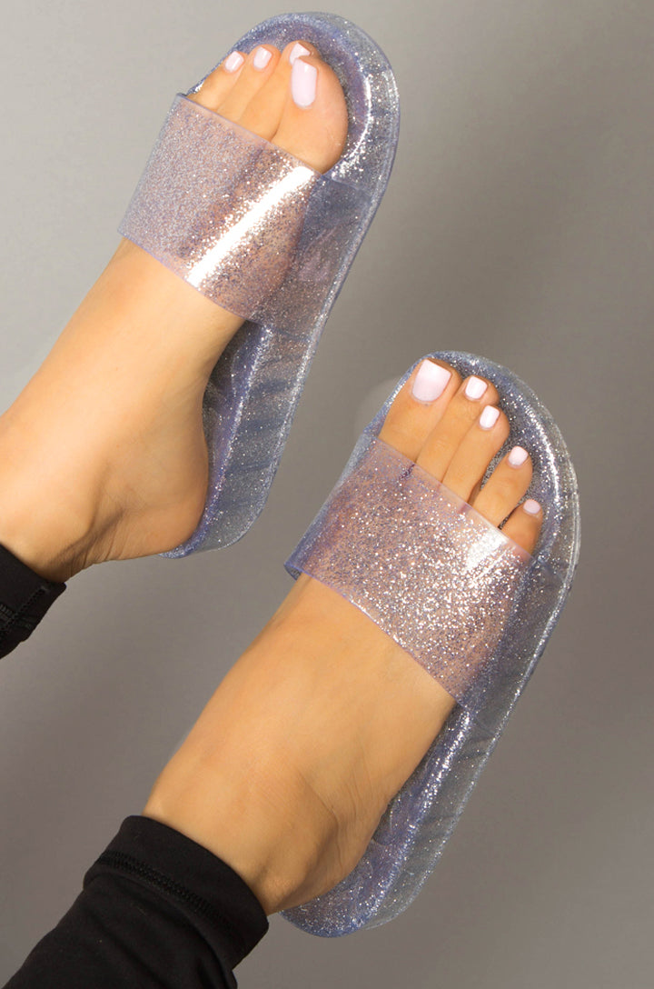 Gloss Boss - Clear Pearlized Sandal Slides