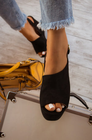 Goal Getter - Black Slingback Wedge
