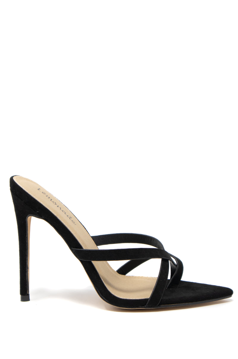 Good Times Only - Black Strappy Stiletto Mules
