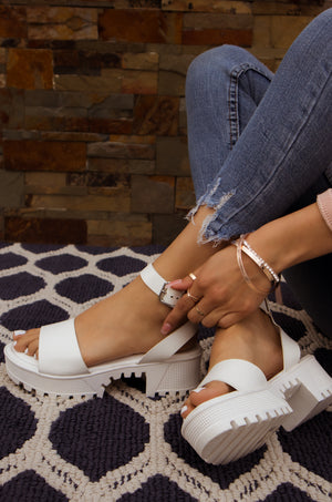 Gotta Have It - White One Band Platform Sandals