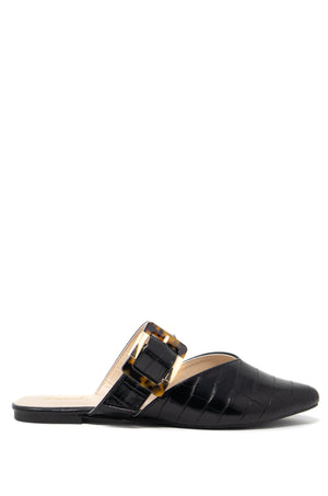 Harper - Black Croco One Band Mule Flats