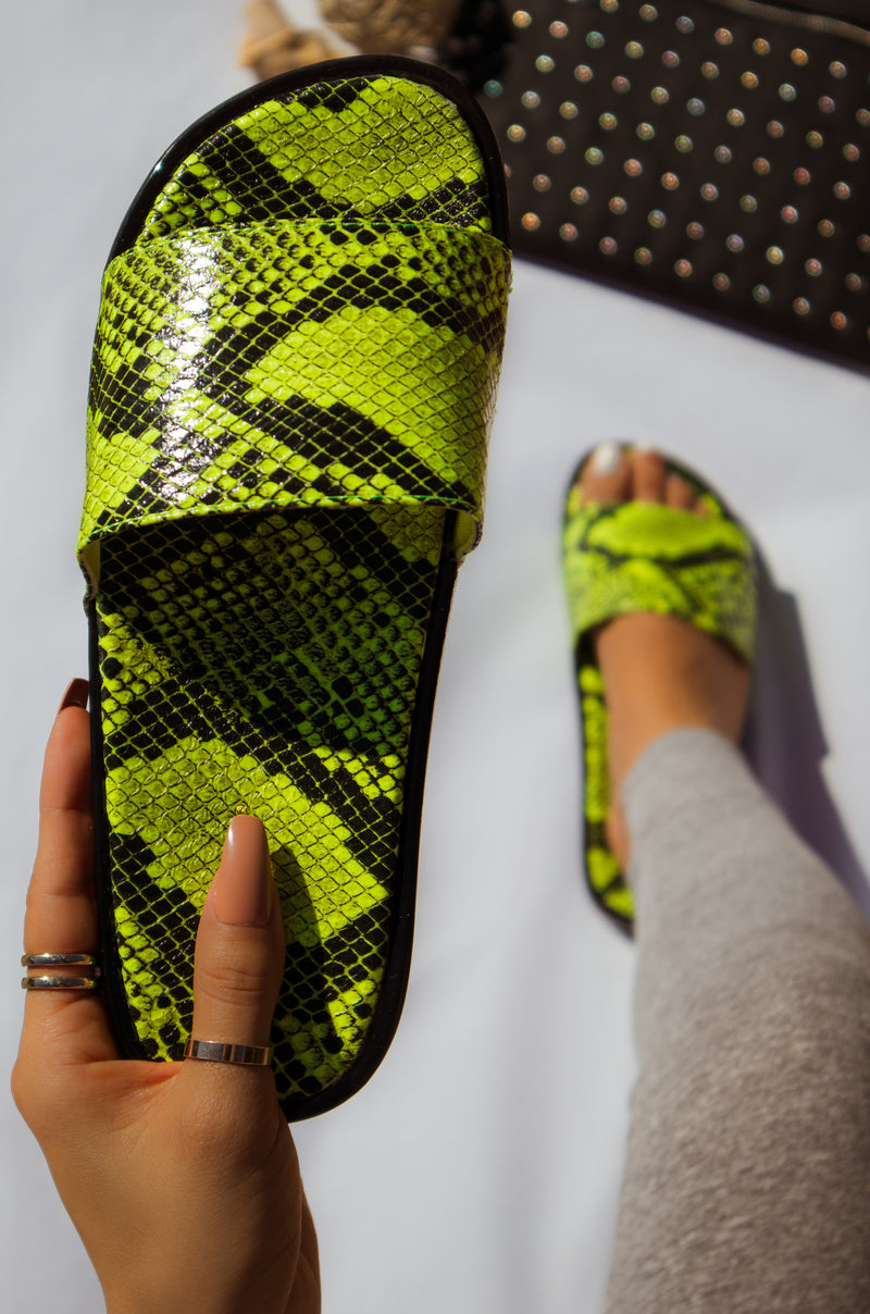 High Key - Neon Yellow Snake Jelly Slides