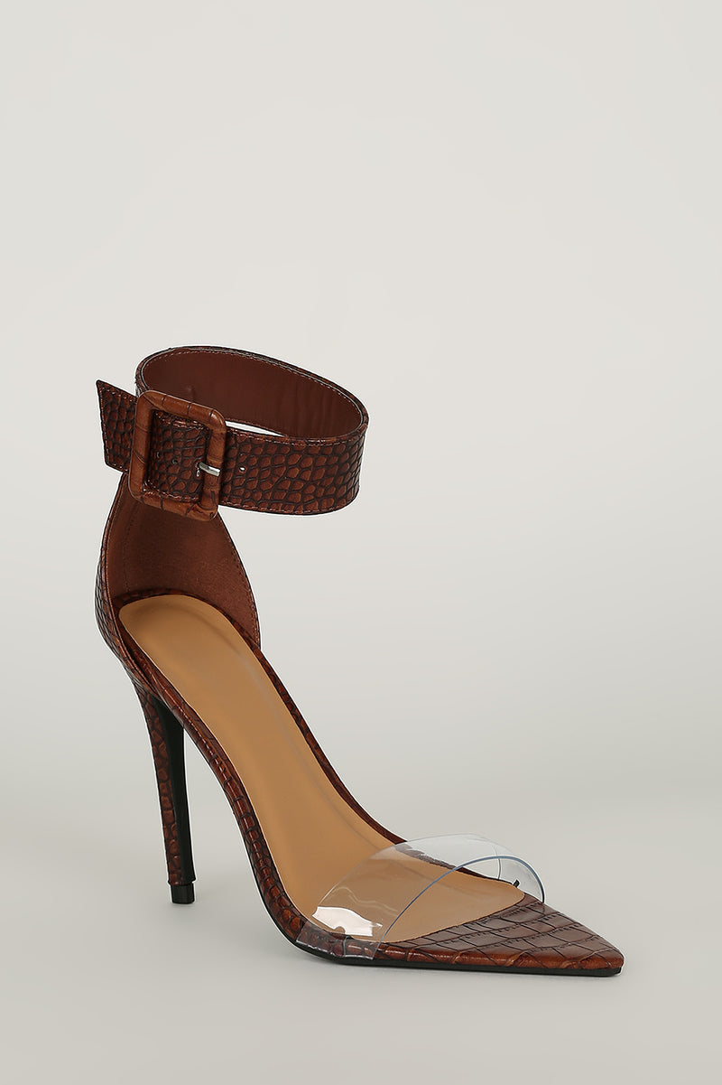 High Power - Brown Crocodile Heels