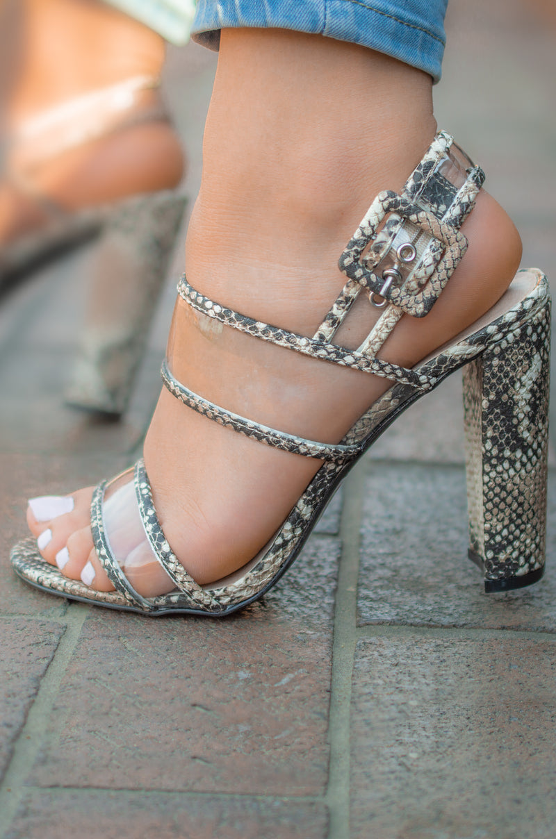 Hissy Fit - Beige Snake Clear Band Heels