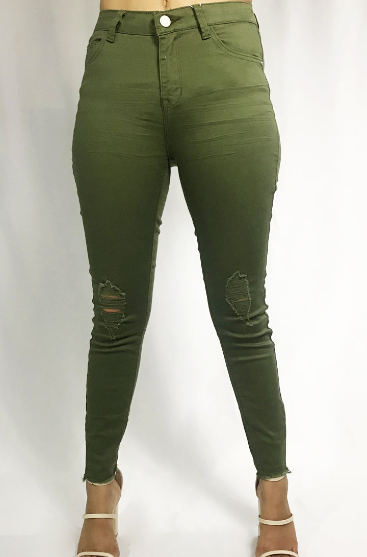 Hunter - Light Olive Skinny Jeans