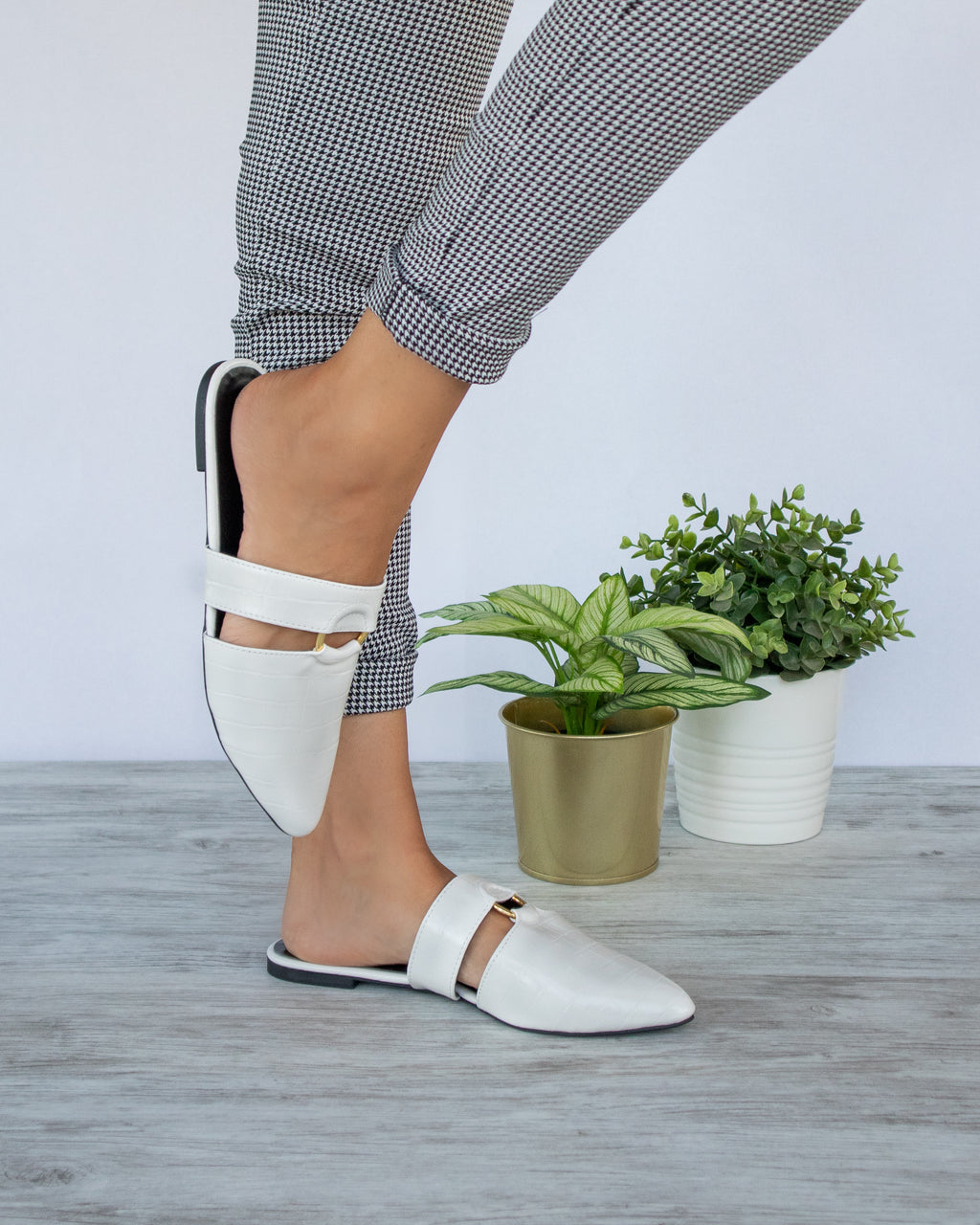 Totally You - White Crocodile Mule Slides