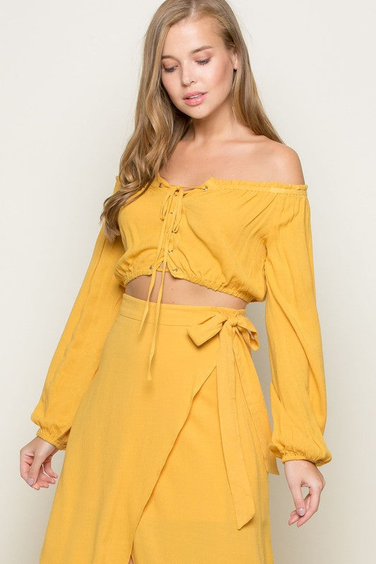 Golden Hour - Yellow Front Tie Crop