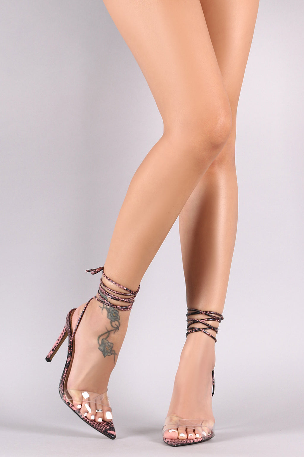 Unbothered - Muave Snakeskin Lace Up Heels