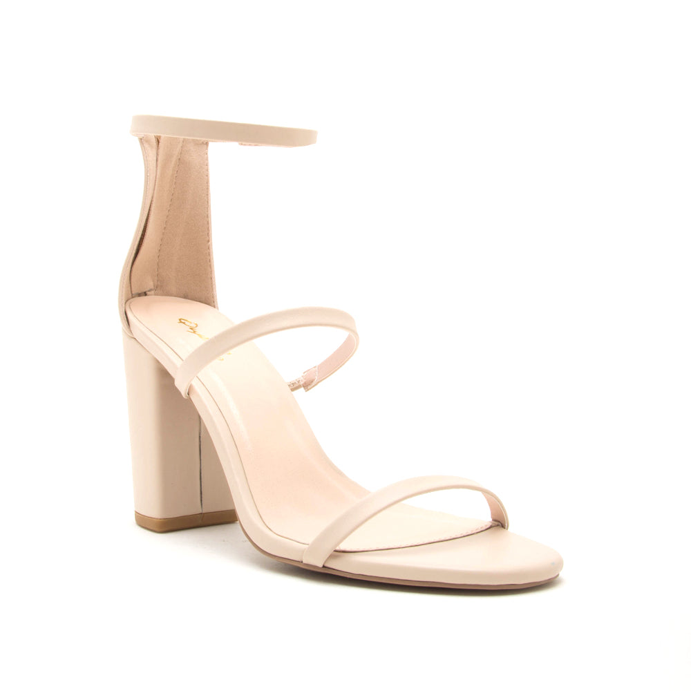 Qupid shoes alona-23x triple band nude heels