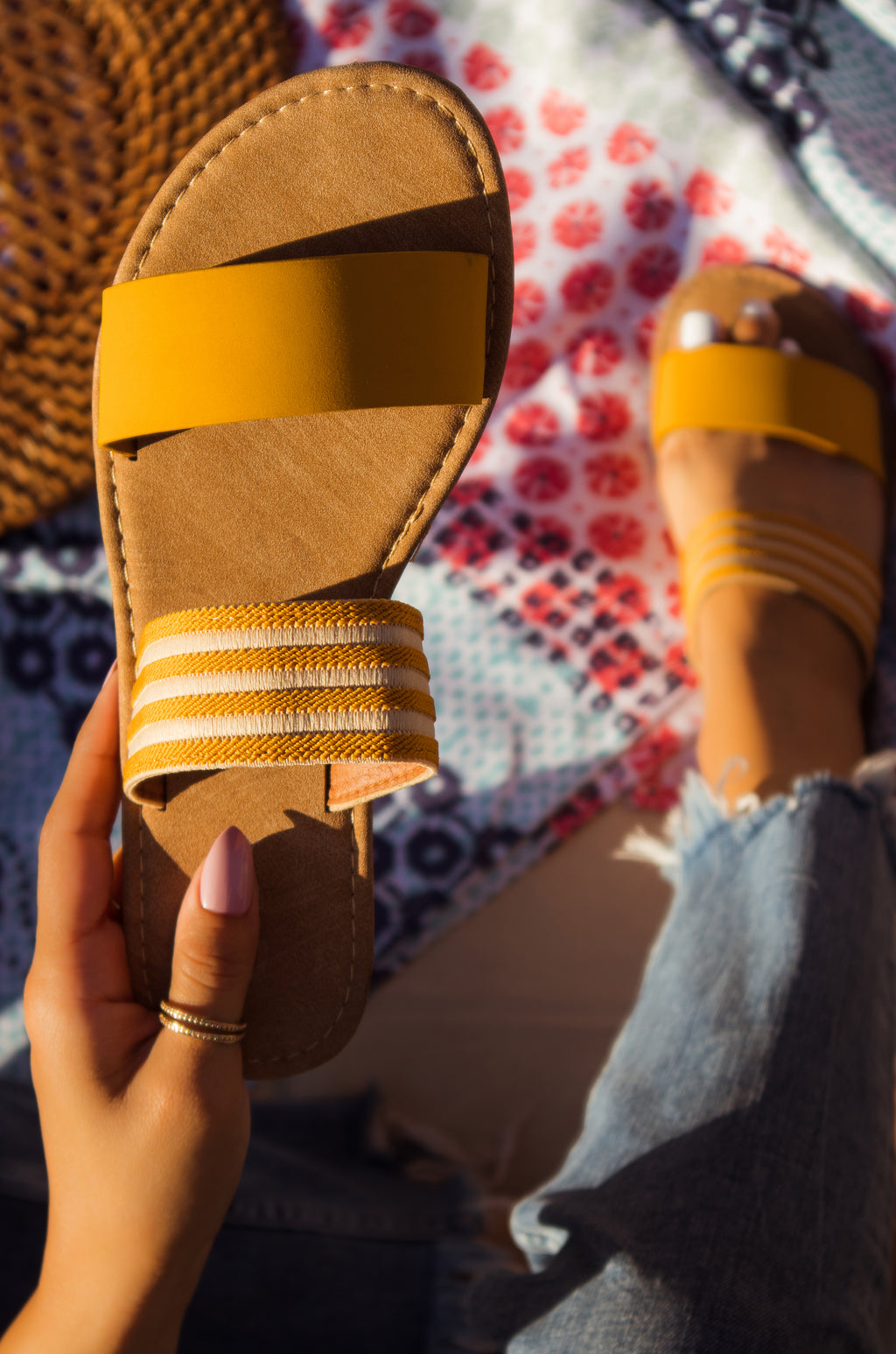 Ibiza - Yellow Striped Sandals