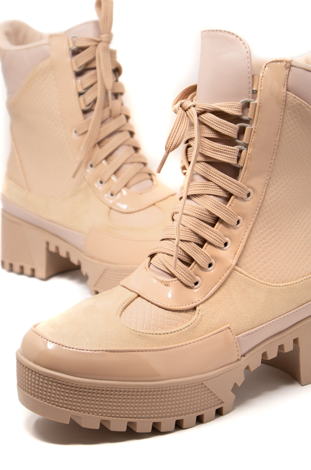 In Command - Nude Lug Sole Combat Boots