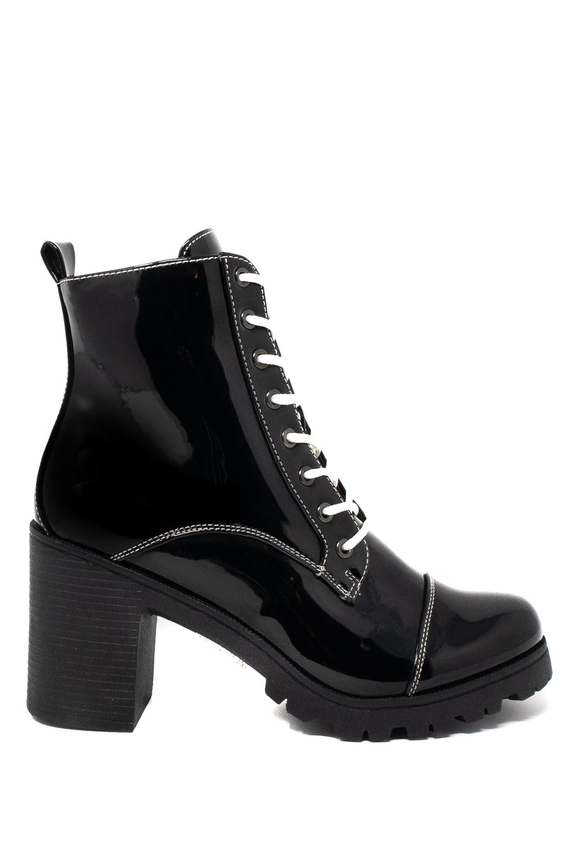 Invasion - Black Block Heel Lace Up Booties