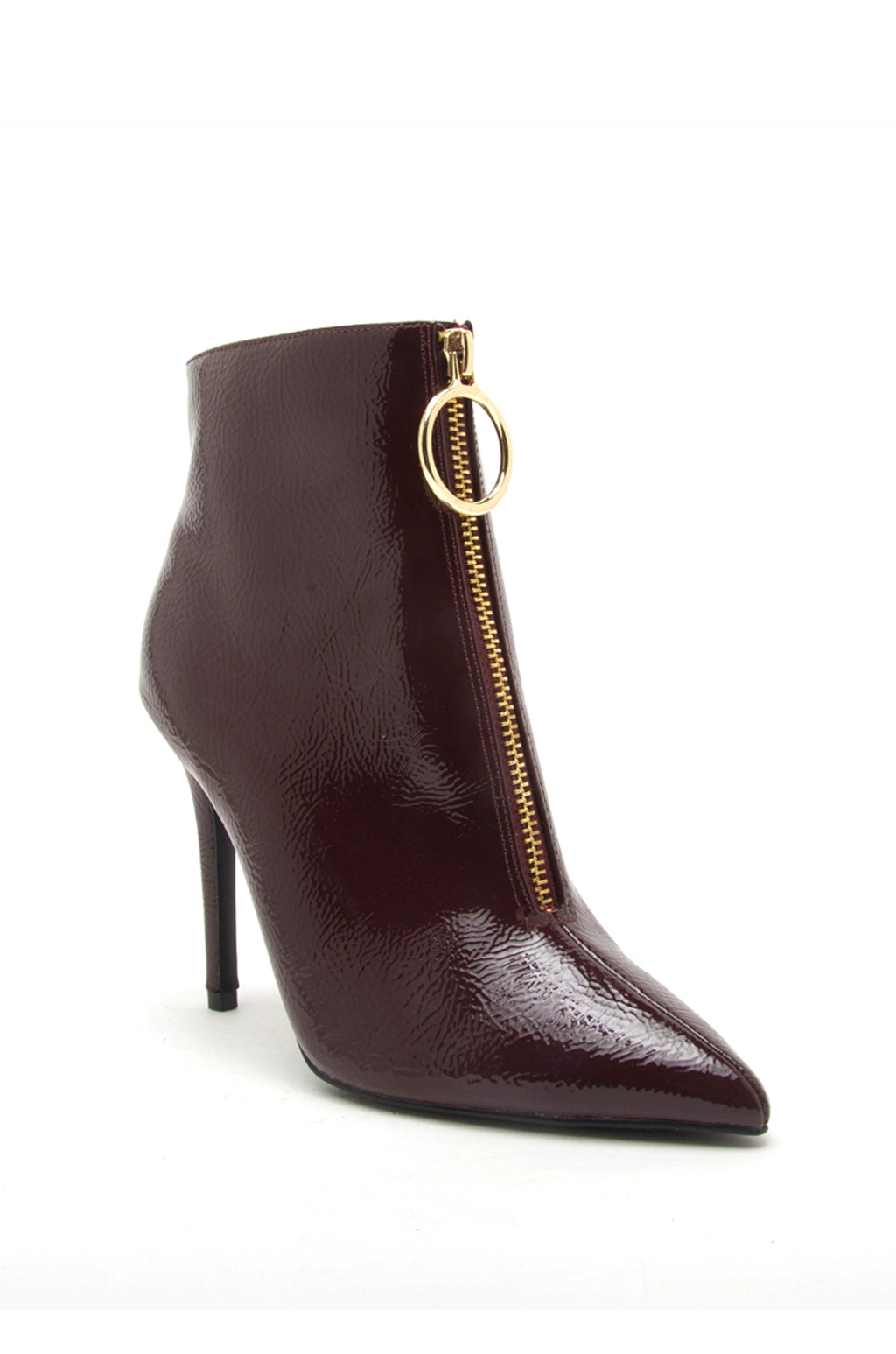 Irresistible - Burgundy O Ring Zipper Booties