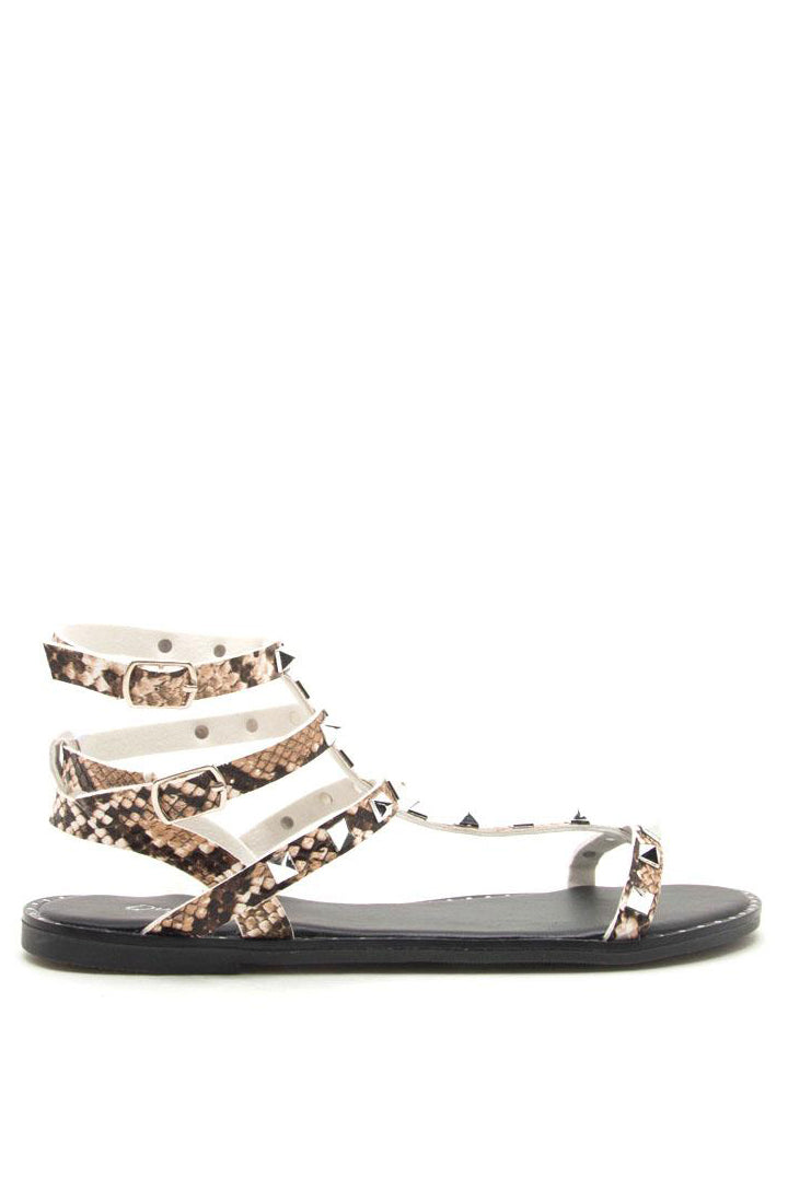 Jagged Edge - Beige Snake Studded Gladiator Sandals