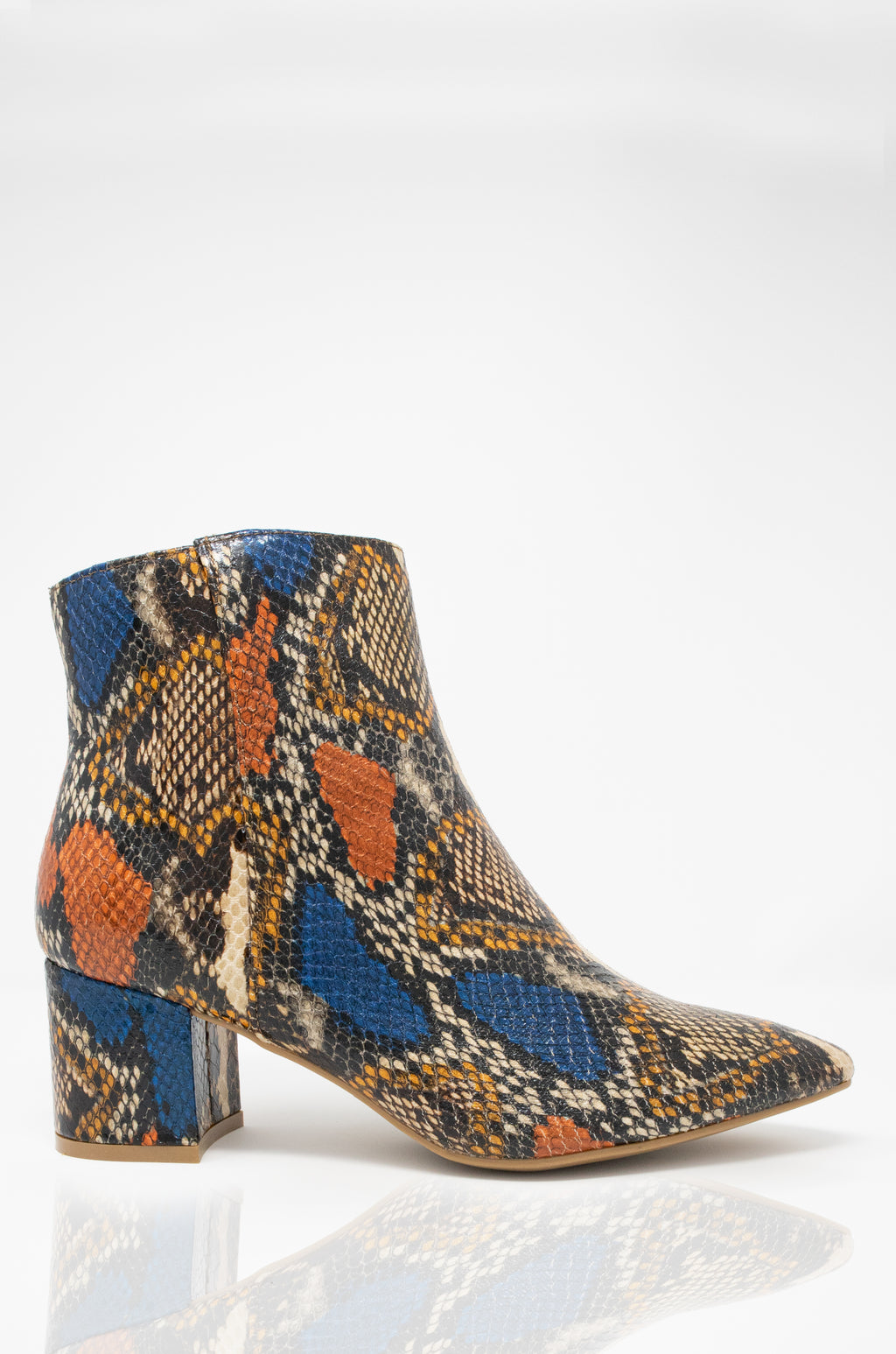 Keep In Touch -  Multi Snake Block Heel Ankle Booties