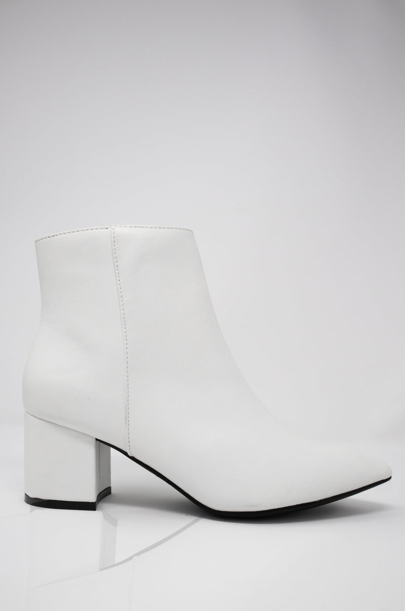 Keep In Touch - White Block Heel Ankle Booties