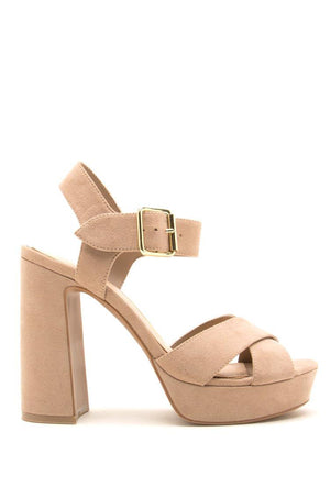 Lead Em On - Taupe X Band Platfrom Heels