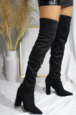 Leveling Up - Black Suede Boots