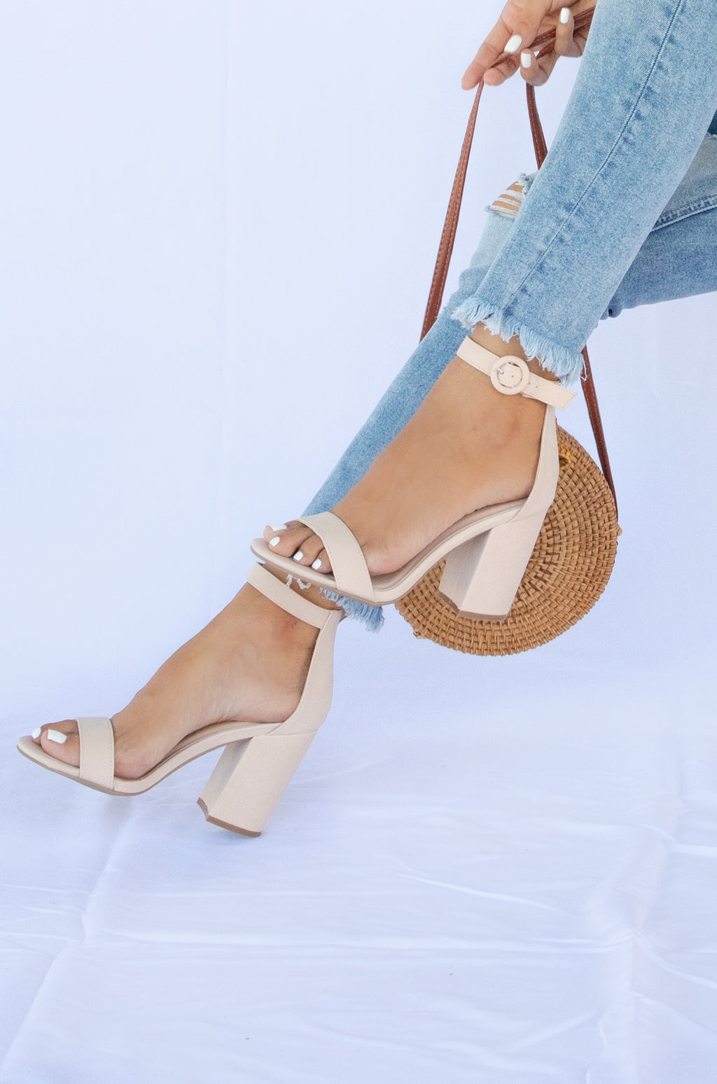 Lost In Love - Nude Ankle Strap Heels